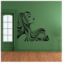 Long Hair Sexy Woman Abstract Pattern Removable Wall Sticker Art Decals Mural DIY Wallpaper for Room Decal