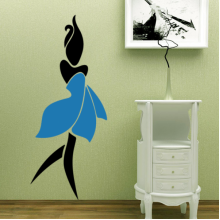 Blue Petal Skirt Sexy Woman Abstract Pattern Removable Wall Sticker Art Decals Mural DIY Wallpaper for Room Decal
