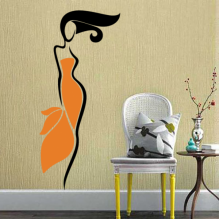 Orange Blue Skirt Sexy Girl Abstract Pattern Removable Wall Sticker Art Decals Mural DIY Wallpaper for Room Decal