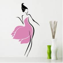Pink Skirt Sexy Girl Abstract Pattern Removable Wall Sticker Art Decals Mural DIY Wallpaper for Room Decal