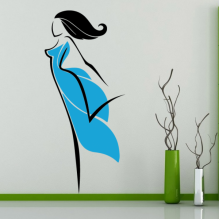 Blue Skirt abstract Girl Pattern Removable Wall Sticker Art Decals Mural DIY Wallpaper for Room Decal