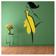 Yellow Skirt Sexy Beauty Abstract Pattern Removable Wall Sticker Art Decals Mural DIY Wallpaper for Room Decal
