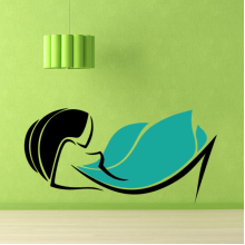 Lazy Posture Blue Skirt Sexy Girl Abstract Pattern Removable Wall Sticker Art Decals Mural DIY Wallpaper for Room Decal