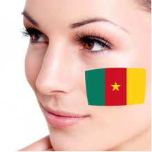 Flag of Cameroon facial tattoo