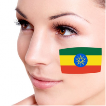 Flag of Ethiopia facial tattoo