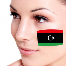 Flag of Libya facial tattoo
