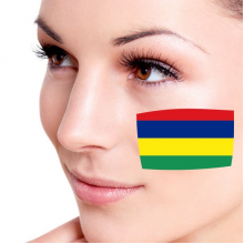 Flag of Mauritius facial tattoo