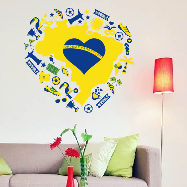 Heart shaped Brazil wall sticker | DIYthinker