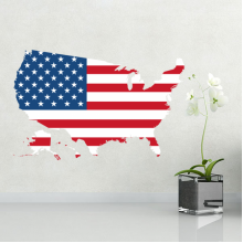 America Flag Shape Map USA Map Removable Wall Sticker Art Decals Mural DIY Wallpaper for Room Decal