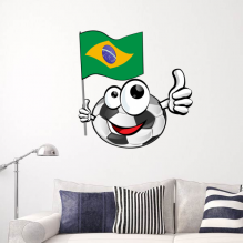 Soccer and Brail flag wall sticker