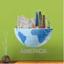 America global architecture landmark statue sticker