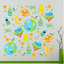 UFO Moon Earth starry sky DIY  cartoon sticker