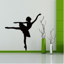 Ballet Girl Silhouette Pattern Decal Wall Sticker