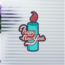 Happy New Year Candle Illustration Sticker