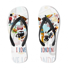 I Love London Pattern Flip Flops