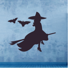 Halloween Flying Witch Removable Wall Sticker Art Decals Mural DIY Wallpaper for Room Decal