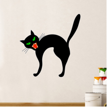 Halloween Angry Black Cat Removable Wall Sticker Art Decals Mural DIY Wallpaper for Room Decal