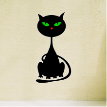 Halloween Couchant Black Cat Removable Wall Sticker Art Decals Mural DIY Wallpaper for Room Decal