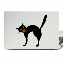 Halloween Angry Black Cat Laptop Skin Sticker