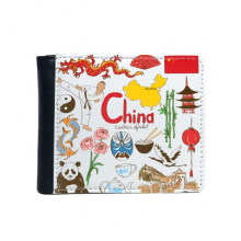 China Illustration Flip Bifold Faux Leather Wallet