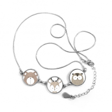 Bear Deer And Owl Family Round Shape Necklace