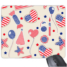 America  Balloon Candy Love Heart Flag Star Festival Illustration Pattern Rectangle Non-Slip Rubber Mousepad Game Mouse Pad