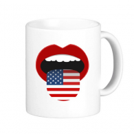 America Flag  Mouth Red Pattern Classic Mug White Pottery Ceramic Cup Milk Coffee With Handles 350 ml