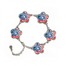 America Flag Liberty Statue Pattern Flower Shape Metal Bracelet Chain Gifts