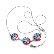 America Flag Liberty Statue Pattern Round Shape Pendant Necklace
