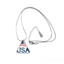 USA America Flag Culture Pattern Triangle Shape Pendant Necklace