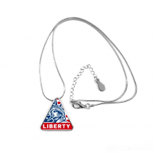 America Flag Liberty Statue Pattern Triangle Shape Pendant Necklace