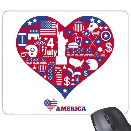 America Red Heart Love Pattern Rectangle Non-Slip Rubber Mousepad Game Mouse Pad