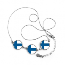 Finland National Flag Europe Country Symbol Mark Pattern Round Shape Pendant Necklace