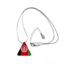 Afghanistan National Flag Asia Country Symbol Mark Pattern Triangle Shape Pendant Necklace