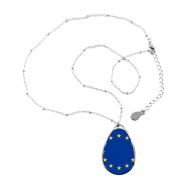 EU National Flag Europe Country Symbol Mark Pattern Teardrop Shape Pendant Necklace