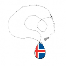 Iceland National Flag Europe Country Symbol Mark Pattern Teardrop Shape Pendant Necklace