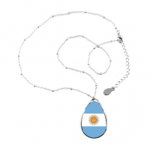 Argentina National Flag South America Country Symbol Mark Pattern Teardrop Shape Pendant Necklace