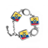 Ecuador National Flag South America Country Symbol Mark Pattern Square Shape Metal Bracelet Love Gifts