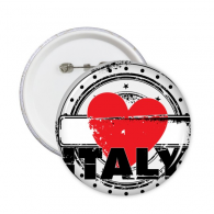 I Love Italy Word Love Heart Illustration Pattern Round Pin Badge Button 5pcs