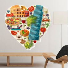 Italy Love Heart Landscape Customs Landmark National Flag Resident Diet Illustration Pattern Removable Wall Sticker Art Decals Mural DIY Wallpaper for Room Decal