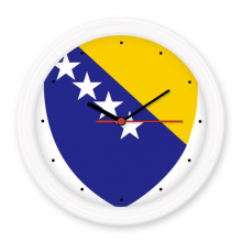 Bosnia and Herzegovina National Emblem Country Symbol Mark Pattern Silent Non-ticking Round Wall Decorative Clock Home Decal