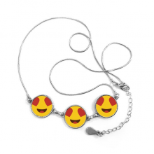 Adore Fever Love Yellow Cute Lovely Online Chat Emoji Illustration Pattern Round Shape Pendant Necklace