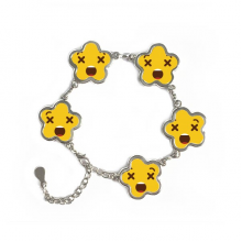 Confuse Yellow Cute Lovely Online Chat Emoji Illustration Pattern Flower Shape Metal Bracelet Chain Gifts
