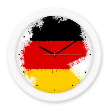 Germany National Flag Map Country Illustration Pattern Silent Non-ticking Round Wall Decorative Clock Home Decal