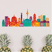 Germany Famous Building Set Landmark Architecture Silhouette Illustration Pattern Removable Wall Sticker Art Decals Mural DIY Wallpaper for Room Decal