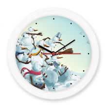 Christmas Snowman Painting Festival Illustration Pattern Silent Non-ticking Round Wall Decorative Clock Home Decal
