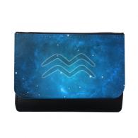 Starry Sky Night Aquarius Zodiac Constellation Sign Multi-Function Faux Leather Wallet Card Purse