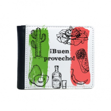 Mexico Culture Sketch Flip Bifold Faux Leather Wallet  Multi-Function Card Purse