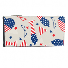 USA America Flag Tie Glass Star Festival Illustration Pattern Multi-Card Faux Leather Rectangle Wallet Card Purse