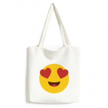 Adore Fever Love Yellow Cute Lovely Online Chat Emoji Illustration Pattern Fashionable Design High Quality Canvas Bag Environmentally Tote Large Capacity Shopping Bags
